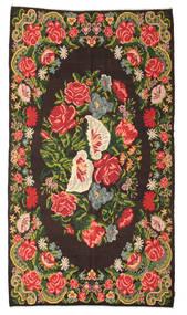 Kilim Rose Moldavia Dywan 200X358 Orientalny Tkany Ręcznie Czarny/Ciemnoszary (Wełna, Mołdawia)