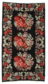 Kilim Rose Moldavia Dywan 174X321 Orientalny Tkany Ręcznie Czarny/Ciemnobrązowy (Wełna, Mołdawia)