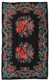 Kilim Rose Moldavia Dywan 191X310 Orientalny Tkany Ręcznie Czarny/Ciemnoszary (Wełna, Mołdawia)