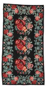Kilim Rose Moldavia Dywan 170X326 Orientalny Tkany Ręcznie Czarny/Ciemnoszary (Wełna, Mołdawia)