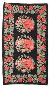Kilim Rose Moldavia Dywan 170X302 Orientalny Tkany Ręcznie Czarny/Jasnozielony (Wełna, Mołdawia)