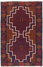 Beludż Dywan 82X131 Orientalny Tkany Ręcznie Ciemnoczerwony/Ciemnofioletowy (Wełna, Afganistan)