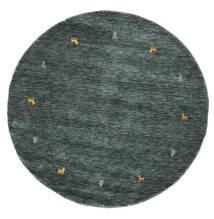 Gabbeh Loom Two Lines - Ciemnoszary/Zielony Dywan Ø 150 Nowoczesny Okrągły Czarny/Ciemnoszary (Wełna, Indie)