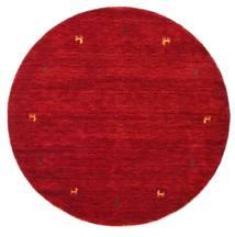 Gabbeh Loom Two Lines - Czerwony Dywan Ø 150 Nowoczesny Okrągły Czerwony/Ciemnoczerwony (Wełna, Indie)