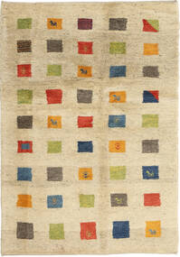 Gabbeh (Persja) Dywan 125X184 Nowoczesny Tkany Ręcznie Beżowy/Ciemnobeżowy (Wełna, Persja/Iran)
