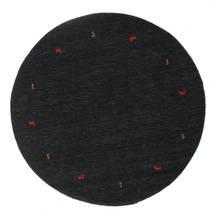 Gabbeh Loom Two Lines - Czarny/Szary Dywan Ø 200 Nowoczesny Okrągły Czarny (Wełna, Indie)