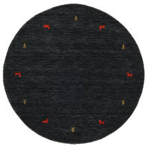 Gabbeh Loom Two Lines - Czarny/Szary Dywan Ø 150 Nowoczesny Okrągły Czarny (Wełna, Indie)