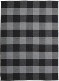 Check Kilim Dywan 240X340 Nowoczesny Tkany Ręcznie Ciemnoszary/Czarny (Wełna, Indie)