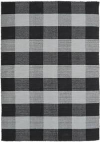 Check Kilim Dywan 160X230 Nowoczesny Tkany Ręcznie Czarny/Jasnoszary (Wełna, Indie)