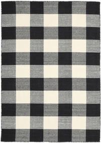 Check Kilim - Czarny/White Dywan 160X230 Nowoczesny Tkany Ręcznie Czarny/Ciemnoszary (Wełna, Indie)