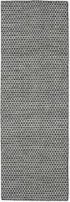 Kilim Honey Comb - Czarny/Szary Dywan 80X240 Nowoczesny Tkany Ręcznie Chodnik Jasnoszary/Ciemnoszary (Wełna, Indie)