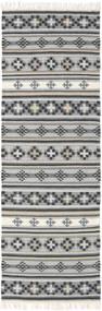 Kilim Cizre Dywan 80X250 Nowoczesny Tkany Ręcznie Chodnik Jasnoszary/Ciemnoszary (Wełna, Indie)