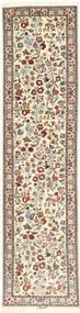 Isfahan Jedwabna Osnowa Dywan 75X315 Orientalny Tkany Ręcznie Chodnik Beżowy/Jasnoszary (Wełna/Jedwab, Persja/Iran)