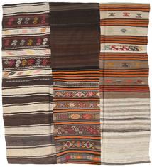 Kilim Patchwork Dywan 217X237 Nowoczesny Tkany Ręcznie Kwadratowy Ciemnobrązowy/Jasnoszary (Wełna, Turcja)