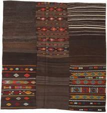 Kilim Patchwork Dywan 208X212 Nowoczesny Tkany Ręcznie Kwadratowy Ciemnobrązowy (Wełna, Turcja)