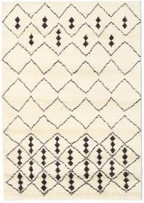 Berber Indie - Off-White/Czarny Dywan 140X200 Nowoczesny Tkany Ręcznie Beżowy/Biały/Creme (Wełna, Indie)