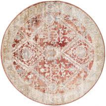 Talitha - Rusty Czerwony Dywan Ø 150 Nowoczesny Okrągły Ciemnobrązowy/Jasnoszary ( Turcja)