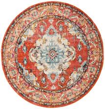 Leia - Pomarańczowy Dywan Ø 200 Nowoczesny Okrągły Jasnobrązowy/Czerwony ( Turcja)