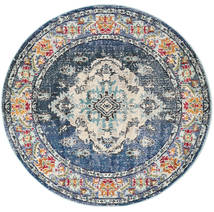 Leia - Niebieski Dywan Ø 150 Nowoczesny Okrągły Ciemnoszary/Jasnoszary ( Turcja)