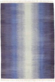Ikat - Ciemny Niebieski Dywan 140X200 Nowoczesny Tkany Ręcznie Fioletowy/Jasnoszary/Jasnofioletowy (Wełna, Indie)