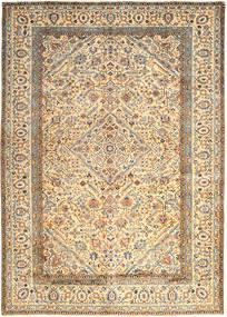 Keszan Dywan 296X410 Orientalny Tkany Ręcznie Beżowy/Ciemnobeżowy Duży (Wełna, Persja/Iran)
