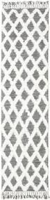 Inez - Ciemnobrązowy/White Dywan 80X300 Nowoczesny Tkany Ręcznie Chodnik Jasnoszary/Biały/Creme (Wełna, Indie)