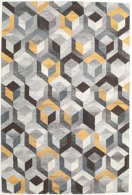Cube - Szary/Złoty Dywan 200X300 Nowoczesny Jasnoszary/Ciemnoszary (Wełna, Indie)