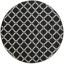 London - Czarny/Kość Słoniowa Dywan Ø 225 Nowoczesny Tkany Ręcznie Okrągły Czarny (Wełna, Indie)