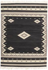 Tribal - Czarny Dywan 140X200 Nowoczesny Tkany Ręcznie Czarny/Beżowy (Wełna, Indie)