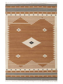 Tribal - Musztardowa Żółć Dywan 140X200 Nowoczesny Tkany Ręcznie Brązowy/Jasnobrązowy (Wełna, Indie)