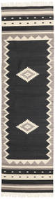 Tribal - Czarny Dywan 80X300 Nowoczesny Tkany Ręcznie Chodnik Czarny/Jasnoszary (Wełna, Indie)