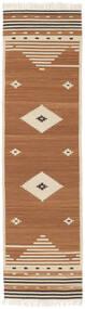Tribal - Musztardowa Żółć Dywan 80X300 Nowoczesny Tkany Ręcznie Chodnik Brązowy/Jasnobrązowy/Beżowy (Wełna, Indie)