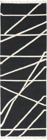 Cross Lines - Czarny/Kość Słoniowa Dywan 80X350 Nowoczesny Tkany Ręcznie Chodnik Ciemnoszary/Beżowy (Wełna, Indie)