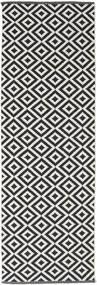 Torun - Czarny/Neutral Dywan 80X250 Nowoczesny Tkany Ręcznie Chodnik Czarny/Jasnoszary (Bawełna, Indie)