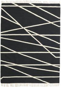 Cross Lines - Czarny/Kość Słoniowa Dywan 160X230 Nowoczesny Tkany Ręcznie Ciemnoszary/Beżowy (Wełna, Indie)
