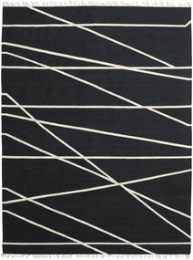 Cross Lines - Czarny/Kość Słoniowa Dywan 250X350 Nowoczesny Tkany Ręcznie Czarny Duży (Wełna, Indie)