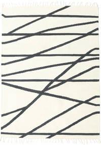 Cross Lines - Kość Słoniowa/Czarny Dywan 140X200 Nowoczesny Tkany Ręcznie Beżowy/Ciemnoszary (Wełna, Indie)