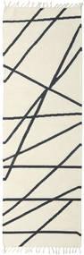 Cross Lines - Kość Słoniowa/Czarny Dywan 80X250 Nowoczesny Tkany Ręcznie Chodnik Beżowy/Ciemnoszary (Wełna, Indie)