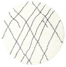 Shaggy Tangier - White/Ciemnoszary Dywan Ø 200 Nowoczesny Okrągły Beżowy/Biały/Creme ( Turcja)