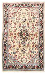 Kerman Dywan 88X140 Orientalny Tkany Ręcznie Jasnobrązowy/Beżowy (Wełna, Persja/Iran)