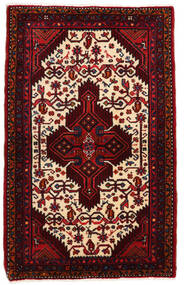 Hamadan Dywan 83X133 Orientalny Tkany Ręcznie Ciemnoczerwony/Beżowy (Wełna, Persja/Iran)