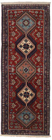 Yalameh Dywan 62X158 Orientalny Tkany Ręcznie Chodnik Ciemnoczerwony/Ciemnobrązowy (Wełna, Persja/Iran)