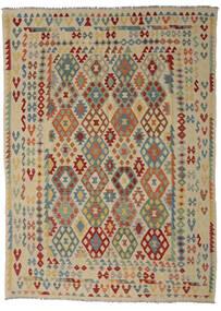 Kilim Afgan Old Style Dywan 255X352 Orientalny Tkany Ręcznie Zielony/Oliwkowy/Ciemnobrązowy Duży (Wełna, Afganistan)