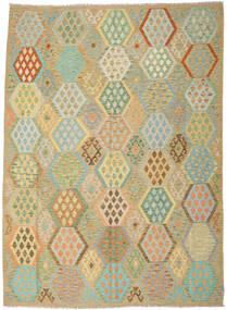 Kilim Afgan Old Style Dywan 246X344 Orientalny Tkany Ręcznie Ciemnobeżowy/Pastel Zielony (Wełna, Afganistan)