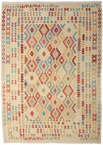Kilim Afgan Old Style Dywan 247X350 Orientalny Tkany Ręcznie Beżowy/Ciemnobeżowy (Wełna, Afganistan)