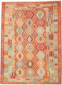 Kilim Afgan Old Style Dywan 246X335 Orientalny Tkany Ręcznie Ciemnobeżowy/Czerwony (Wełna, Afganistan)
