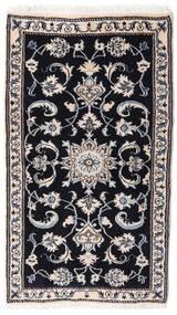 Nain Dywan 75X132 Orientalny Tkany Ręcznie Czarny/Jasnoszary (Wełna, Persja/Iran)