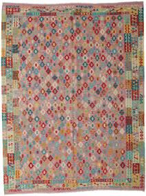 Kilim Afgan Old Style Dywan 260X340 Orientalny Tkany Ręcznie Brązowy/Jasnoszary Duży (Wełna, Afganistan)