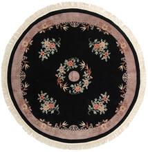 Chińskie 90 Line Dywan Ø 244 Orientalny Tkany Ręcznie Okrągły Czarny/Jasnoszary (Wełna, Chiny)