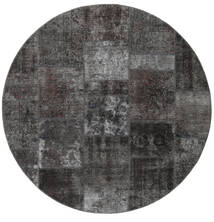 Patchwork - Persien/Iran Dywan Ø 200 Nowoczesny Tkany Ręcznie Okrągły Ciemnoszary/Czarny (Wełna, Persja/Iran)